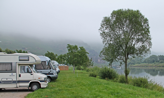 Ställplatsen i ürzig ligger vid kanten av Mosel med byn på andra sidan gatan bakom.