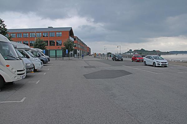 Husbilsparkering i Karlshamn.