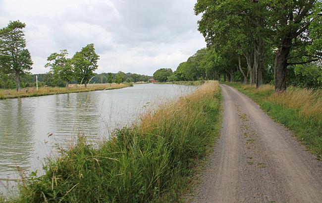 Skuggande trädallé vid Göta kanal.