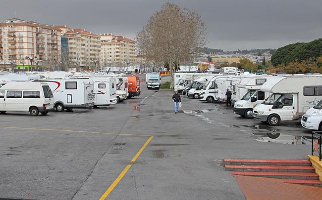Husbilshörnan på Feriaplatsen Fuengirola.