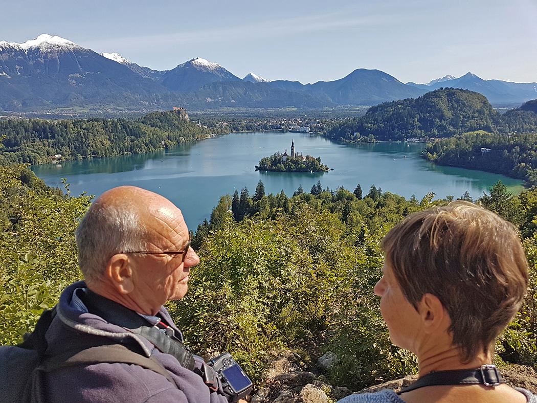 Utsikt över Bledsjön i Slovenien.