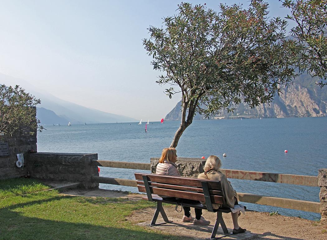 Bara några hundra meter från ställplatsen kan man sitta på en bänk och njuta av utsikten över sjön.