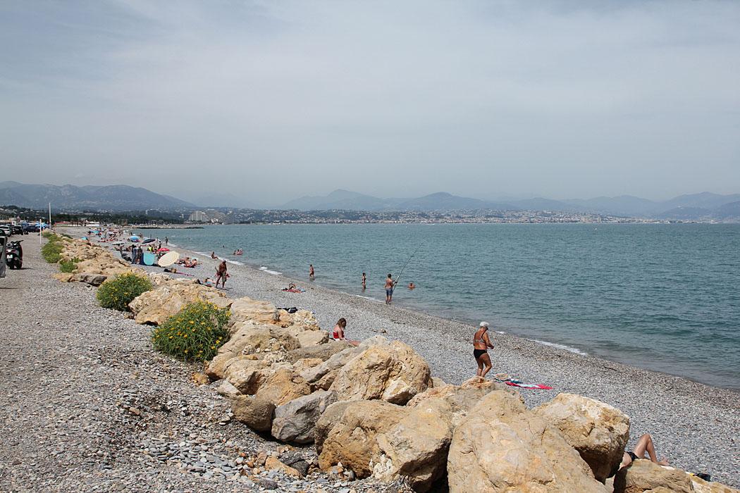 Stranden mellan Villeneuve-Loubet och Antibes.