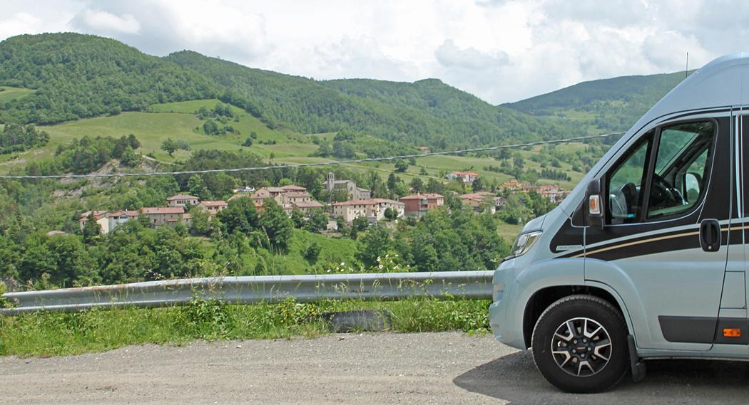 Utsikt vid fikapaus på väg till Florens, i Italien.