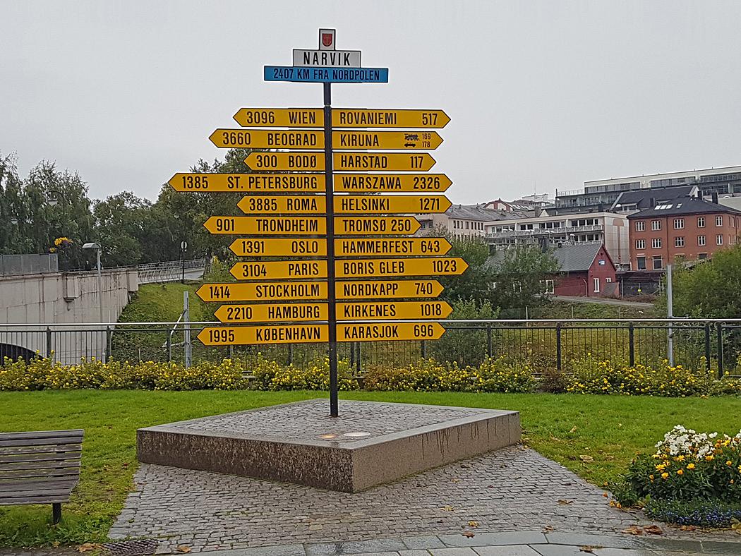 Avståndsskyltar i centrum av Narvik.