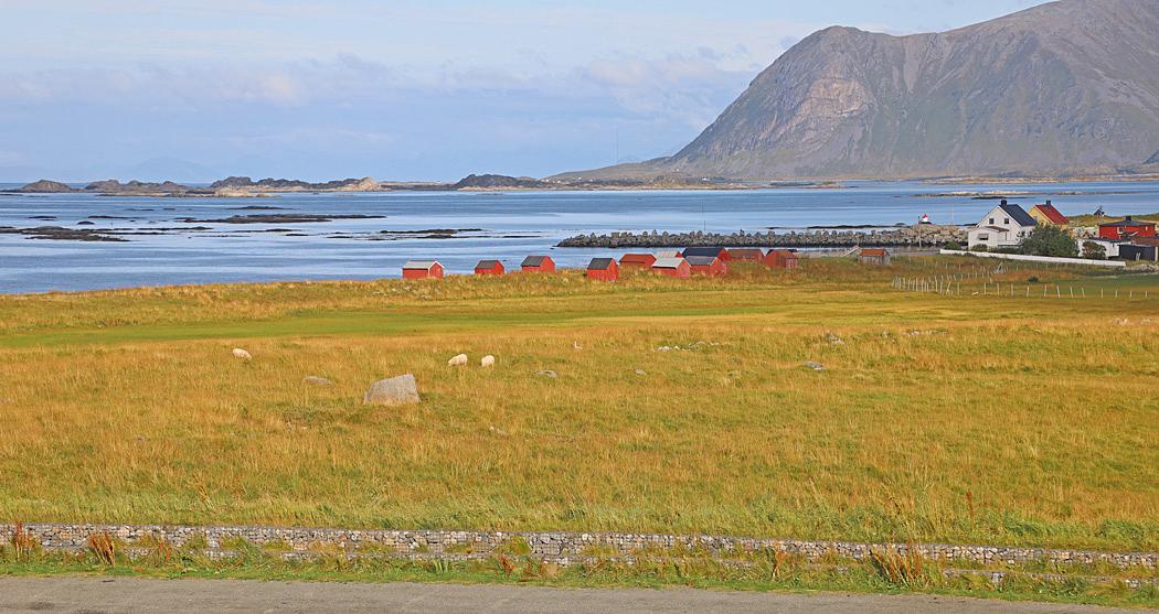 Fiskebyn Eggum  ligger mellan hav och fjäll på Lofoten.