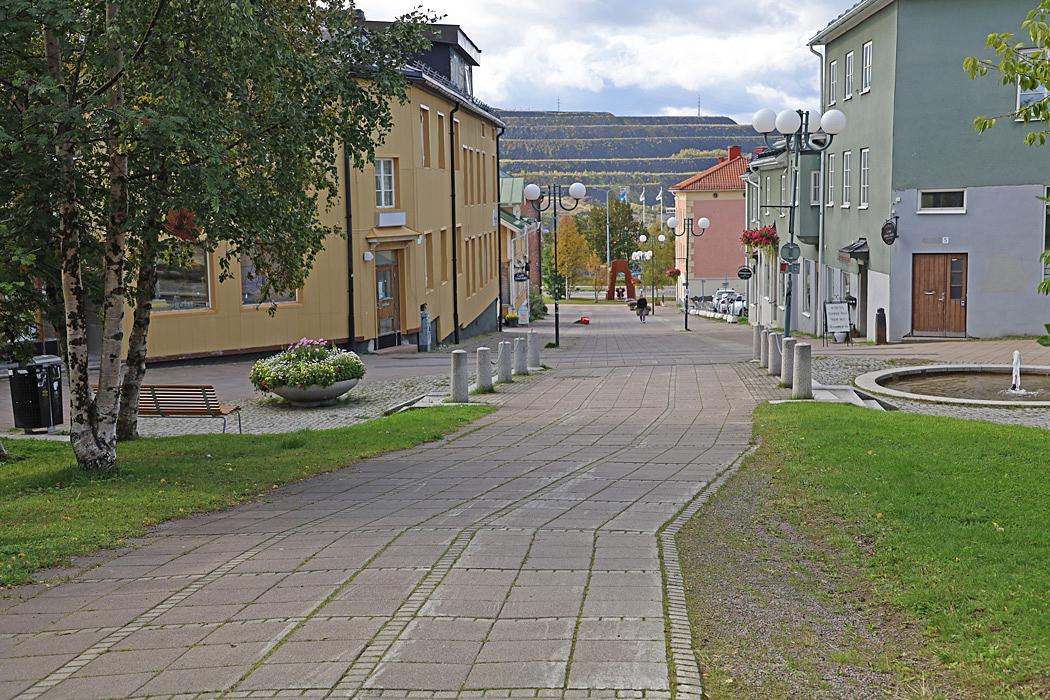 En centrumgata i Kiruna.